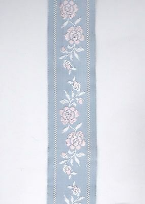 """Pink Rose Floral On Blue Jacquard Embroidered Ribbon Trim 29"""" x 1.5"""" Wide"""