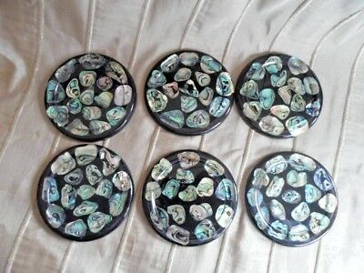 Vintage Retro Abalone Shell Coasters Set of 6 - Good Colours