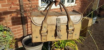 old leather tool bag box with handles embossed with military 1953