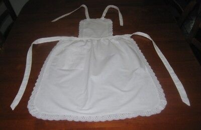 Vintage Full Apron ~ Cotton With Broderie Anglaise Lace Edge ~ White