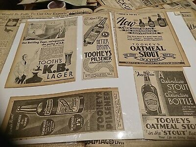 5 x  old beer adverts  from  the 1930s Tooheys Oatmeal KB bottles
