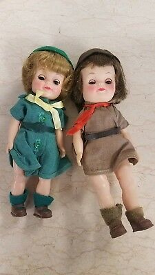 Pair of Vintage 1960'sEffanbee Girl Scout Patsy Ann Dolls~ All original