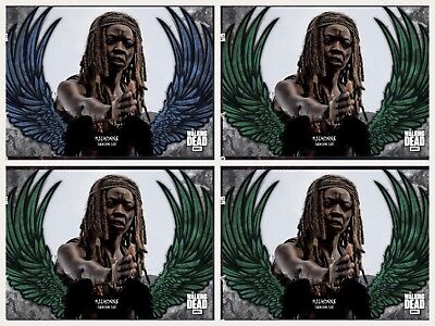 GUARDIAN ANGELS WAVE 2 MICHONNE BLUE +3 GREEN Topps Walking Dead Digital Card