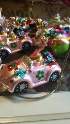 Pink Flamingo Driving VW Tropical Christmas Ornament~ NWT