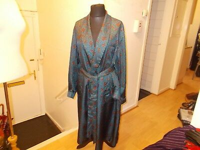 Mens Vintage Paisley  Pattern Blue@orange Tootal Tricel Smoking Jacket Robe Lar