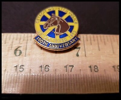 Detroit Mounted Police Unit Shoulder Patch 100th Anniversary lapel pin badge MI
