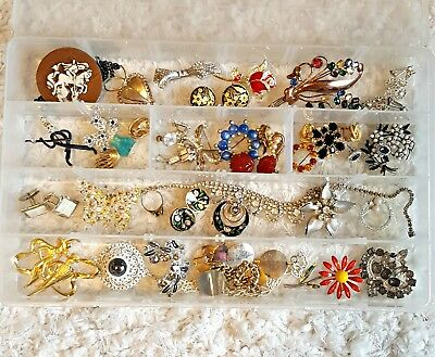 34 Pc Vintage Jewelry Lot Antique-Now Wear-Repair Rhinestones Some Signed Pieces