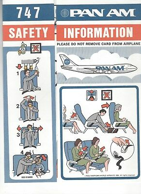Pan Am Boeing 747-100 Safety Card New Mint Rare