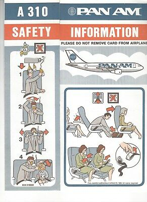 Pan Am Airbus A-310-200 Safety Card New Mint Rare