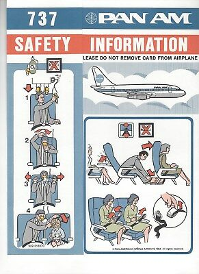 Pan Am Boeing 737-100 Safety Card New Mint Rare
