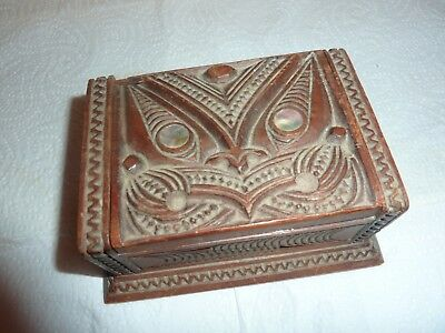 Early 20Thc New Zealand Maori Wooden 12.2Cm  Lidded Box--Carved Tiki & Fern Deco