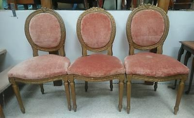 Antique 19th Century French carved gilt frame fauteuil salon chairs trio