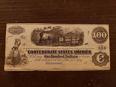 ORIGINAL 1862 CONFEDERATE STATES $100 CURRENCY NOTE BILL Hundred Dollar Train