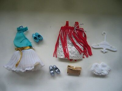 Vintage 1970s Topper Dancing Dawn & Palitoy Pippa Doll Dresses Shoes Clutch Bag