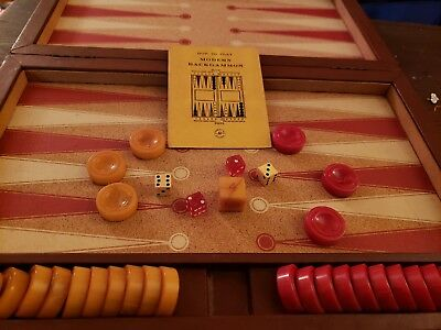 Vintage Backgammon Game Bakelite With Red & Yellow Swirl Chips
