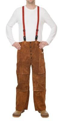 Weldas Heavy Leather Trousers Shoulder Straps Size Large Welding Pant 44-7440