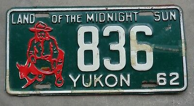 Canada Yukon 1962 land of the Midnight Sun gold miner  license plate #  836