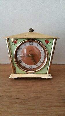 vintage 1940 juba schatz & sohne brass alarm clock for spares or repairs