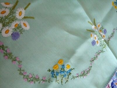 Stunning Vintage Raised Hand Embroidery Florals Mint Green Linen Tableclo