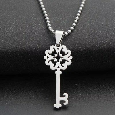 Fashion Charm  Key Silver 316L Stainless Steel Titanium Pendant Necklace W21