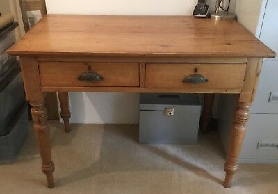 Antique Victorian Pine Writing Table. Two Drawers. Original