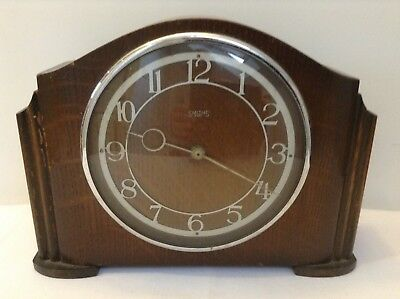Vintage Smiths Enfield Art Deco Style Mantel Clock for Spares/Repair NOT WORKING