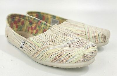 f3ac4585ad8 Skechers BOBS Shoes Women s size 8.5 Slip On Flats Beige Multi Color  Pinstripes