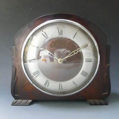 Vintage Art Deco BENTIMA 8 day clockwork mantle clock - working, non chiming