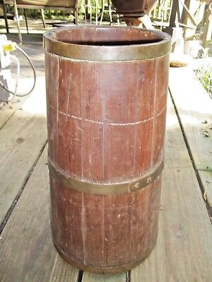 "Primitive Wooden 17.5"" Butter Churn Base Bottom Umbrella Walking Cane Stand"