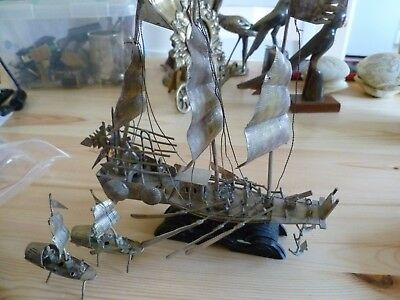 Antique Chinese Silver White Metal Carved Ship With Stand & two Small Junk Boats