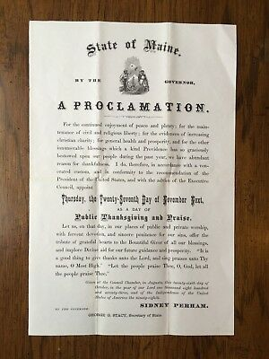 A PROCLAMATION State of Maine 1873 THANKSGIVING DAY Broadside Gov. Sidney Perham