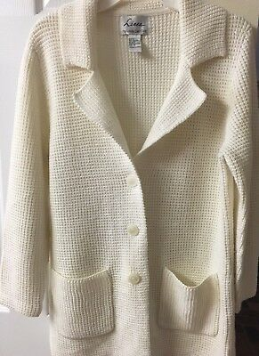 Women's sweater coat by Louis DellOlio, size Med, (10-12) ivory, acrylic/wool
