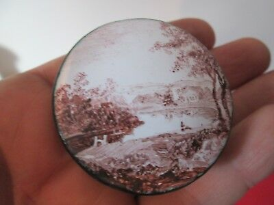 18th C - BATTERSEA ENAMELED - PILL or SNUFF BOX - DETAILED LANDSCAPE ON LID
