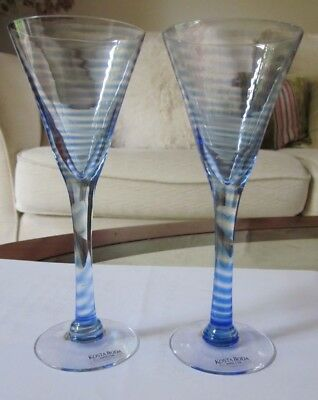 KOSTA BODA: A Pair of Blue Striped Clear Glass Schnapps Glasses.