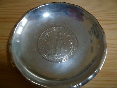 Antique Chinese Sterling Silver Small Dish 1909 Trade Dollar Coin Bamboo Border