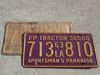 Louisiana  1963 LSU color Tractor  license plate # 713 810