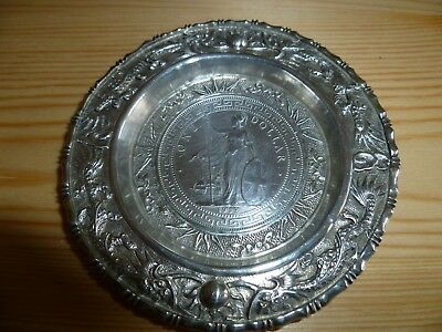 Antique Chinese Silver 1912 Trade Dollar Coin Dish Bamboo Dragons Design