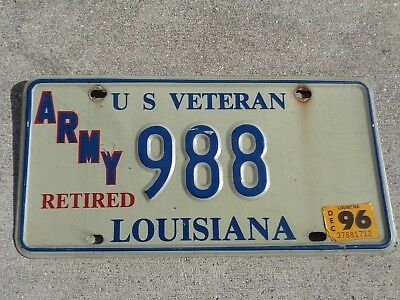 Louisiana  1996 Retired ARMY  license plate # 988