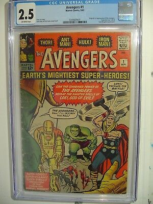 1963 Avengers 1 CGC 2.5 Origin & 1st Appearance A's Iron Man Thor Hulk Wasp Ant