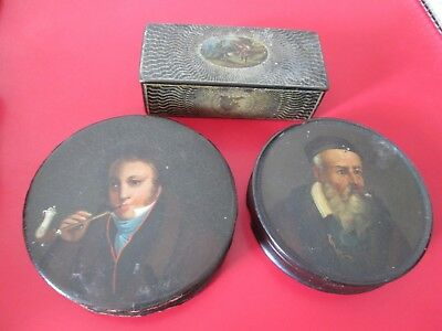 GROUP OF  3  Early 1800's PAPIER MACHE - SNUFF BOXES - 2 w/ Portraits
