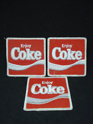 """Coke """"Enjoy Coca-Cola"""" Embroidered Patch for Uniform shirt or Jacket 3""""x3"""" Rare"""