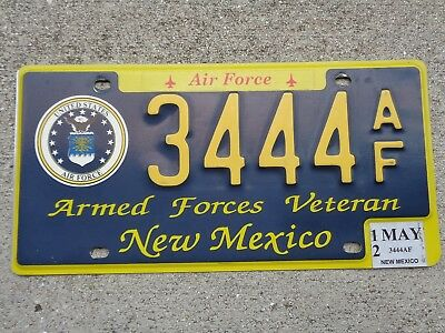 New Mexico 2012 Armed Forces Veteran Air Force  license plate # 3444