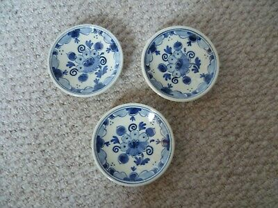 Vintage Delft Hand Painted Blue & White set of 3 Pin Dishes - Perfect!