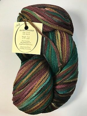 VTG HAND PAINTED Ribbon Yarn Knit Threads Cotton Rayon Dyed in the Wool Per  Hank