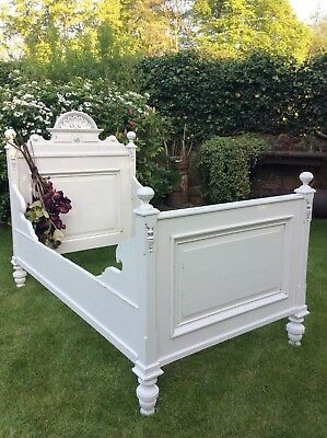 Spectacular Antique French Rococo Carved Oak Bed~Stunning Ornate Pediment Header