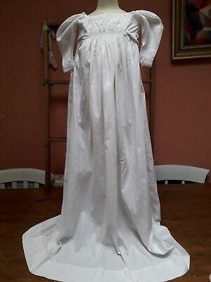 ANTIQUE REGENCY BABY DRESS GOWN 1800s WHITE COTTON MUSEUM COLLECTOR SMOCKING