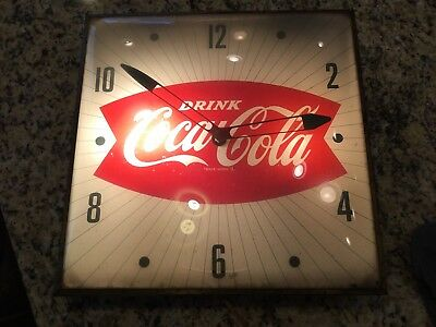 "Vintage 1960's Coca Cola Fishtail Soda Pop 15"" Pam Clock Sign Domed Coke working"