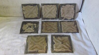 "8  Antique 6 "" x 6 ""  Salvaged  Victorian Tin Ceiling Tiles"