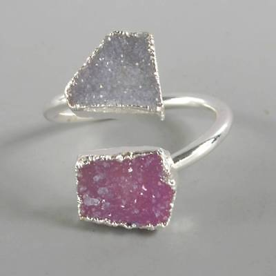 Size 7 Natural & Pink Agate Druzy Geode Adjustable Ring Silver Plated T068373
