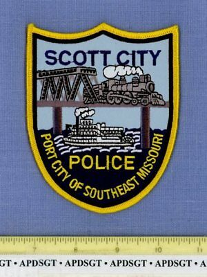 SCOTT CITY MISSOURI Police Patch RIVERBOAT BRIDGE OLD STEAM RAILROAD TRAIN